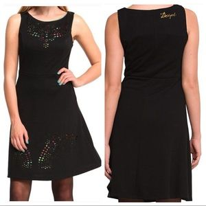 desigual / laser cut rouces fit flare mini dress